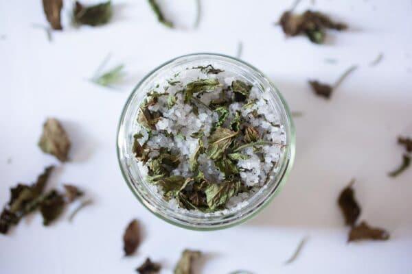 Mint and rosemary bath salt